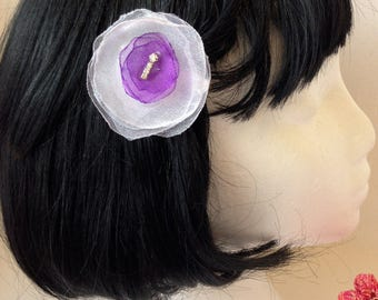 White and Purple Flower Hair Clip/Brooch