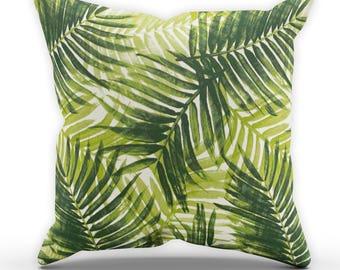 Gradient Palm Cushion, Tropical Cushion, Palm Leaf Cushion, Garden Cushion, Cushion Cover, Square Cushion, Leaves Cushion STP560