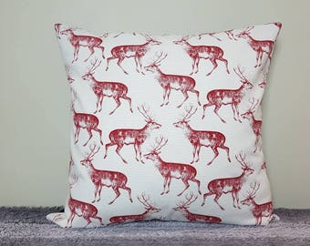 "Red deer cushion cover 18"" (45x45cm). *cover only, cushion pad not included* deer pillow, stag cushion, stag pillow"