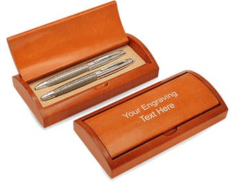 Personalized Woven Steel Double Pen Gift Set With Rosewood Box - S6277