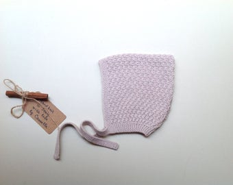 READY TO SHIP -  Cotton/cashmere baby kid Pixie Bonnet  hat  color Oats, hand knit size 6-12 months