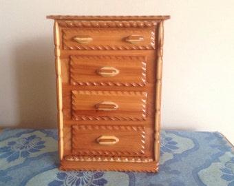 Vintage Wood Jewelry Box Miniature Dresser