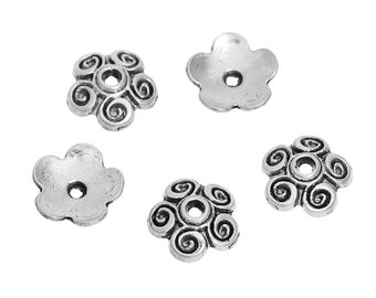 50 Antique Silver Swirl Bead Caps 10mm (s14d)