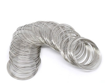 Small Silver Tone Memory Wire 40mm-45mm Dia. 200 loops (B130)