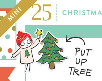 P326 - Christmas tree stickers, Christmas planner stickers, decorate tree, christmas decorations, MINI size, 20 stickers
