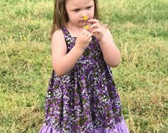 Purple Sundress-Flower Dress-Summer Dress-Girls Summer Dress