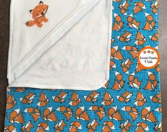 Baby Towel with Hood, Embroidered Fox Bath Towel, New Baby Shower Gift, Hooded Bath Towel, Animal Bath Towel, Kids Bath Towel, Gift for Baby