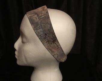 Hairband, elastic hairband, hair tie, hair accessory, gray hair band, fabric headband, handmade , batik