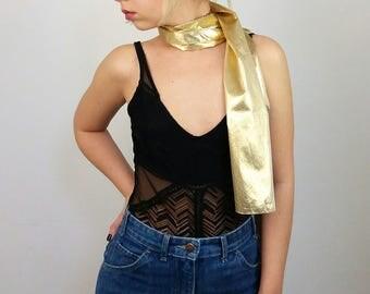 Vintage 80's Gold Lurex Long Scarf |Gold Wrap | Disco Scarf | 80's Headscarf