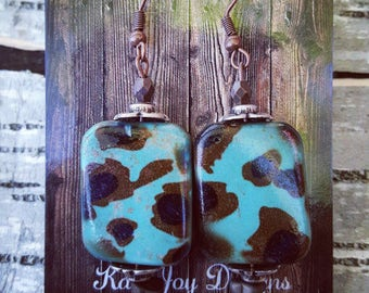 Turquoise Leopard Earrings