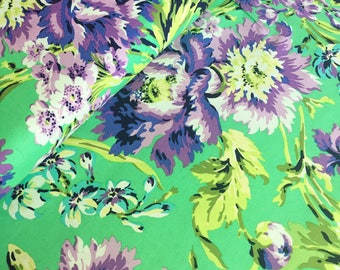 Amy Butler Love Bliss Bouquet in Emerald Green Fabric - Amy Butler Fabrics by the Yard - Green and Purple Fabric - Floral Fabric - Quilt