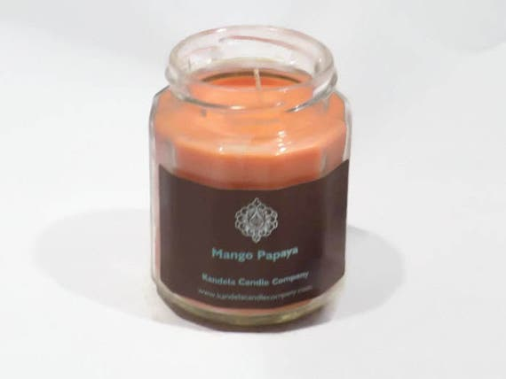 Mango Papaya Scented Candle in Twelve Sided Jar