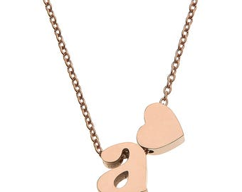 """High Polished Stainless Steel Initial Pendant Necklace with 18"""" Chain"""