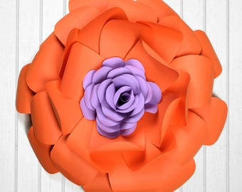 Orange-red & Purple paper flower