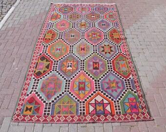 "Vintage Turkish kilim rug, bohemian rug, kilim rug pink, area rugs, kilim rug large, rustic rugs, handwoven rugs, 69.5"" x 111.5,"