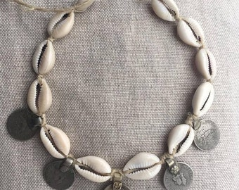 natural hemp choker with shells and coins