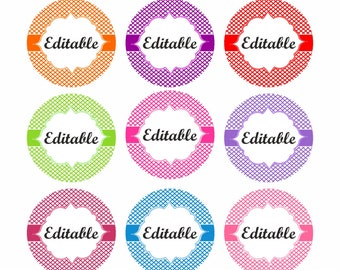 Editable Bottle cap images. Digital Collage Sheet. Circles for Jewelry Making. Instant download