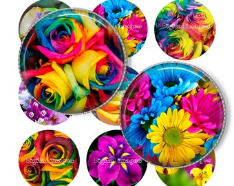 """1"""" Rainbow flowers Bottle cap images. Digital Collage Sheet. Printable images. Circles for Jewelry Making. Instant download"""