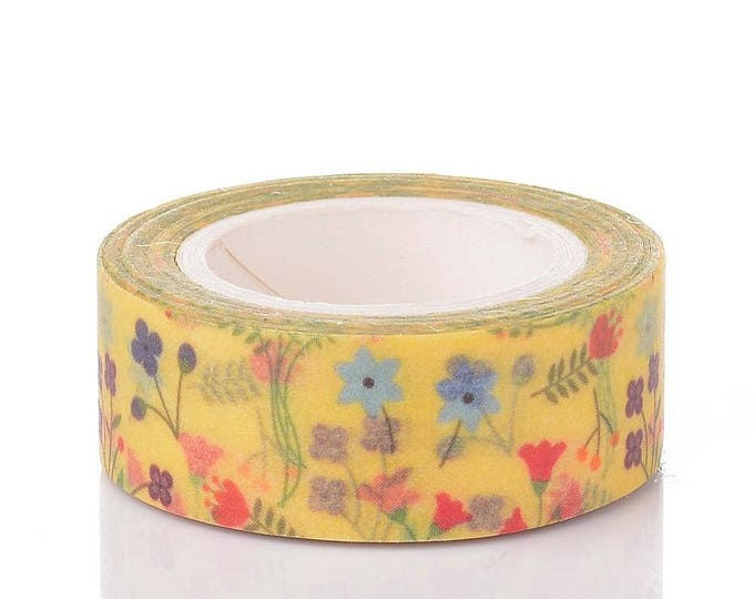 Washi Tape - Yellow Floral Washi - Tropical Washi Tape - Paper Tape - Planner Washi Tape - Washi - Decorative Tape - Deco Paper Tape - flora