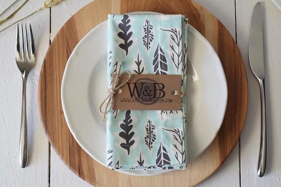 Fabric Napkin   table linen, cloth napkin set, table decor, leaflet