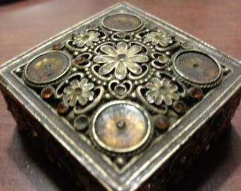 Handmade brass trinket box