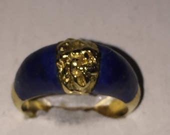 18k Lapis Gold Nugget Ring