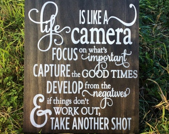 Life is Like a Camera, Photographer Gift, Camera Decor, Camera Art, Photography Art, Photography Quote, Studio Decor, Life Quote, Camera