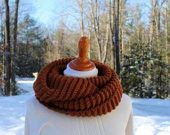 Chunky Ribbed Infinity Scarf or Cowl, Wide Infinity Scarf, Neckwarmer