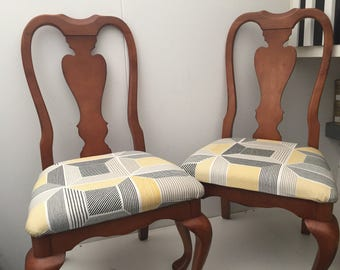 Queen Anne Chair - Re-upholstered x2