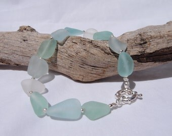 Blue Sea Glass Bracelet 925 Sterling Silver