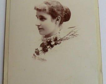 Victorian Fashion Photo Pretty Woman Side Profile Cabinet Card Victorian Bun Hairstyle
