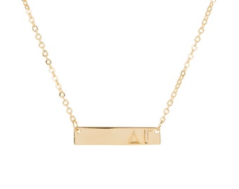Delta Gamma Gold Plated Bar Necklace