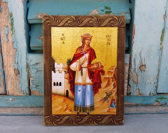 Saint Barbara,St Barbara,Great Martyr Barbara,Christian Greek Saint,Female Saints,Baptism Gift,Christening Gift,Byzantine Icon,Byzantine Art