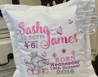 Beautiful Personalised Baby Birthdetail Cushion