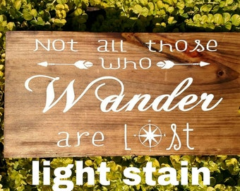 Not All Those Who Wander Are Lost Pine Hanging Sign, Sign For Adventurers, Inspirational Hanging Sign