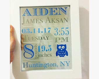 Baby Stats- Floating Frame- Personalized- Customization Available