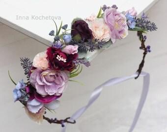 Lavender eucalyptus flower crown Lilac pink flower crown Boho wedding Bridal headpiece Flower hair wreath Floral Headband