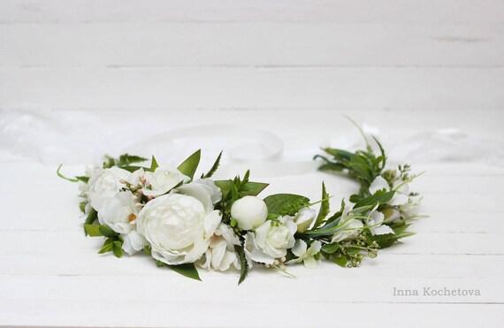pivoine fleur couronne nuptiale couronne bandeau fleur blanche. Black Bedroom Furniture Sets. Home Design Ideas