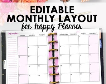 Happy Planner Monthly Inserts, Monthly Happy Planner Printable, Editable Monthly Insert Month Planning Editable Month 7 x 9 Instant Download