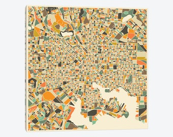 Gallery Style Canvas Print of Abstract City Map Baltimore Maryland State  Charm City Colorful Beautiful Pop Art Wall Decor - Free Shipping