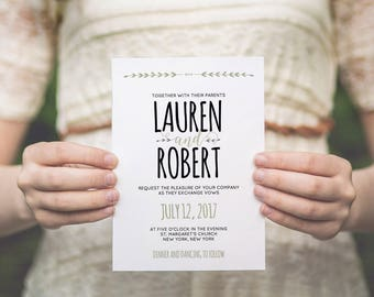 Wedding invitation template | Printable wedding invite | instant download | COLOR and TEXT editable | Invitation, RSVP, Details card