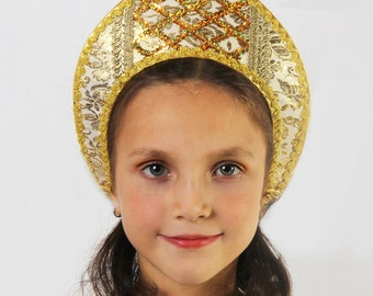 Russian traditional hat silk Kokoshnik, Russian crown, Tiara, Girl head-dress, Woman head-dress, Russian headwear