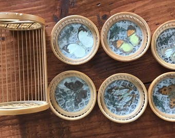 Vintage Butterfly Coasters and Platter