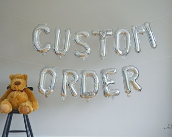 CUSTOM ORDER 16 Rose Silver Or Gold Foil Balloon Letters Numbers