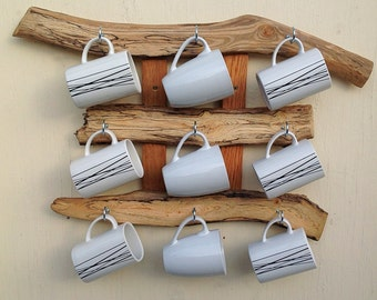 Driftwood slice 9 mug rack. Hanging wall rack for mugs. Hooks on drift wood. Kitchen organiser mug storage display. Beach decor.