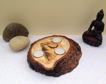 Cypress tree burr knot tealight candle holder. Natural wood rustic 3 Tea light Candle holder; decorative log slice with amazing patterns.
