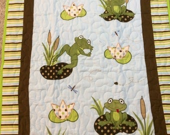 Jumping frogs on lily pads quilted baby/toddler blanket with flannel backing