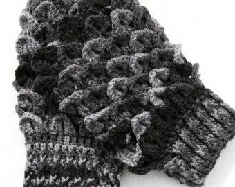 Mens Fingerless Gloves - Dragon Scale Gloves - Dragon Scale Hobo Gloves - Crochet Dragon Scale Gloves - Crochet Fingerless Gloves