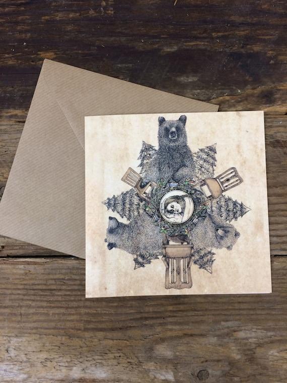 Goldilocks card - blank greetings card - original hand drawn illistration- three bears