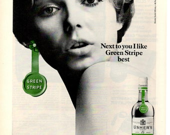 1968 Ushers Green Stripe blended light scotch vintage magazine ad wall decor print art (1705)
